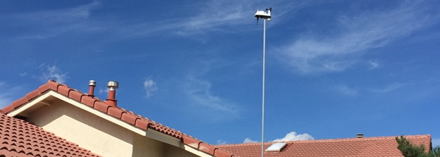 Weather Station Mounted to Roof of Home