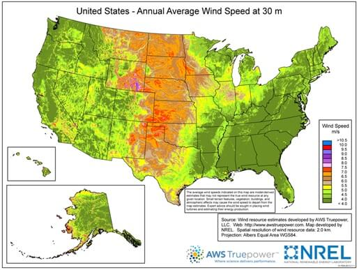 NREL average wind speed map