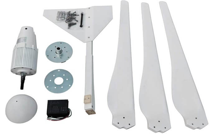 Components of a home wind turbine kit